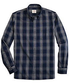 Brooks Brothers Men's Red Fleece Indigo Plaid Twill Shirt