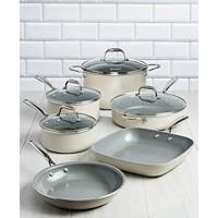 Goodful 10 Piece Ceramic Cookware Set (Cream With Gray Interior)