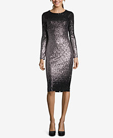 Betsy & Adam Ombré Sequined Sheath Dress
