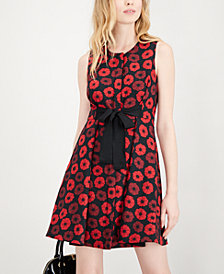 Maison Jules Jacquard Bow-Detail Fit & Flare Dress, Created for Macy's