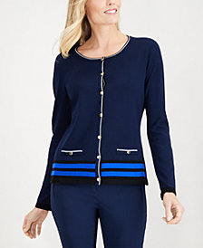 Karen Scott Petite Striped Cardigan Sweater, Created for Macy's