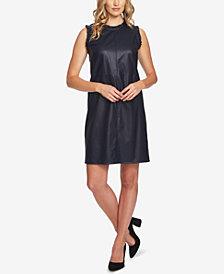 CeCe Faux-Leather Ruffle-Trim Dress