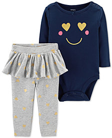 Carter's Baby Girls 2-Pc. Cotton Smiley Bodysuit & Tutu Pants Set