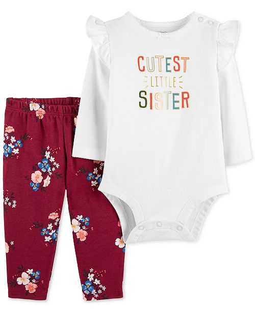 66b62f87f Carter's Baby Girls 2-Pc. Cotton Cutest Sister Bodysuit & Floral-Print Pants