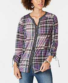 Style & Co Petite Plaid Shirt, Created for Macy's