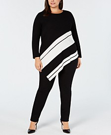 Plus Size Asymmetrical-Hem Striped Sweater, Created for Macy's