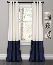 "Prima Velvet Color Block 84"" x38"" Room Darkening Window Curtain Set"