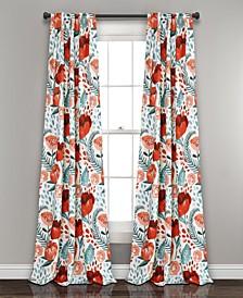 """Poppy Garden 52"""" x 84"""" Floral Curtain Set"""