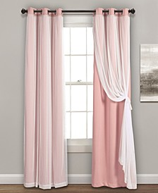 "Solid and Sheer Layered 38"" x 84"" Blackout Curtain Set"