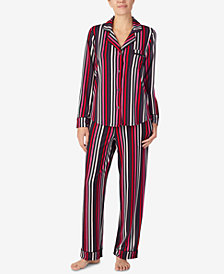 DKNY Printed Shirt Collar Top & Pajama Pants Set