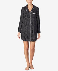 DKNY Printed Shirt Collar Sleepshirt