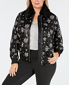 MICHAEL Michael Kors Plus Size Faux-Leather Bomber Jacket