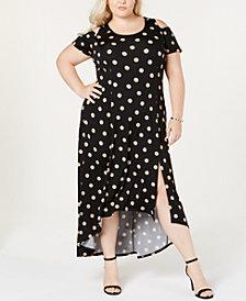 NY Collection Plus & Petite Plus Size Cold-Shoulder Fit & Flare Dress