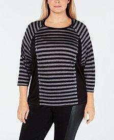 MICHAEL Michael Kors Plus Size Grommet-Trim Striped Top