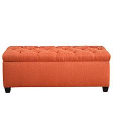 Sole Secret Diamond Tufted Can Pumpkin Linen Storage Bench