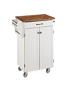 Home Styles Cuisine Cart White Finish with Oak Top