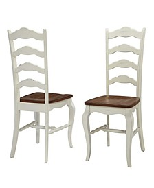 The French Countryside Oak and Rubbed White Dining Chair, Pair