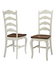 Home Styles The French Countryside Oak and Rubbed White Dining Chair, Pair