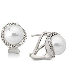Majorica Sterling Silver Cubic Zirconia & Imitation Pearl Stud Earrings