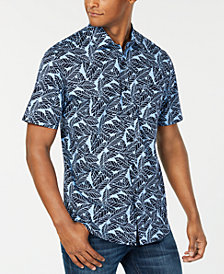 Club Room Men's Leaf Print Short Sleeve Shirt, Created for Macy's