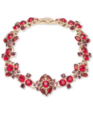 MARCHESA Gold-Tone Stone & Crystal Cluster Link Bracelet in Red