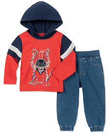 Kids Headquarters Baby Boys 2-Pc. Dog-Print Hoodie & Denim Jogger Pants Set