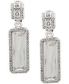 Lauren Ralph Lauren Silver-Tone Crystal Clip-On Drop Earrings