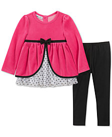 Kids Headquarters Baby Girls 2-Pc. Velour Split Tunic & Leggings Set