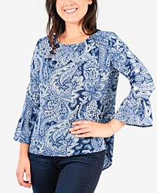 Petite All-Over Print Bell-Sleeve Top