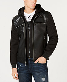 GUESS Men's Mix-Media Faux-Leather Moto Jacket with Removable Hood