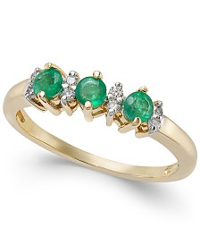 Emerald (1/3 ct. t.w.) & Diamond Accent Ring in 14k Gold