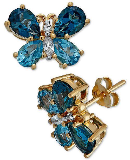 Macy's Multi-Gemstone Butterfly Stud Earrings (5 ct. t.w.) in 14k Gold-Plated Sterling Silver(Also Available In Garnet)