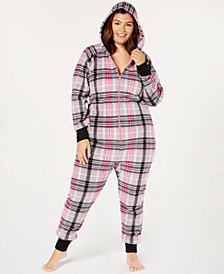 Jenni Plus Size Printed Hooded One-Piece Pajama, Created for Macy's