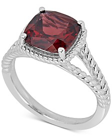 Garnet Rope-Frame Ring (4 ct. t.w.) in Sterling Silver