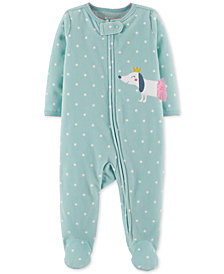 Carter's Baby Girls 1-Pc. Dot-Print Dog Footed Coverall