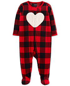 Carter's Baby Girls Plaid Heart Footed Coverall