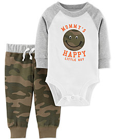 Carter's Baby Boys 2-Pc. Cotton Happy Face Bodysuit & Camo-Print Pants Set