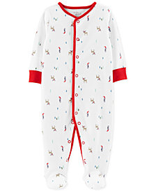 Carter's Little Planet Organics Baby Boys & Girls Holiday-Print Cotton Footed Coverall