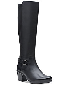 Clarks Collection Women's Emslie March Wide-Calf Riding Boots