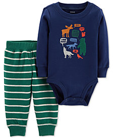 Carter's Baby Boys 2-Pc. Cotton Animal-Print Bodysuit & Pants Set