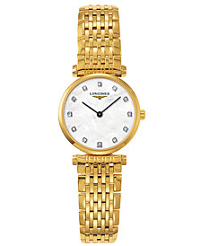 Longines Women's Swiss La Grande Classique Diamond Accent Gold-Tone Stainless Steel Bracelet Watch L42092878