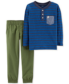 Carter's Baby Boys 2-Pc. Striped Cotton Henley & Pants Set