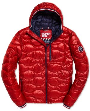 SUPERDRY Men'S Wave Quilted Hooded Jacket in Bright Red