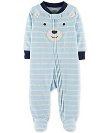 Carter's Baby Boys Striped Bear Footed Coverall