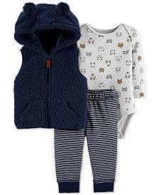 Carter's Baby Boys 3-Pc. Hooded Vest, Bodysuit & Pants Set