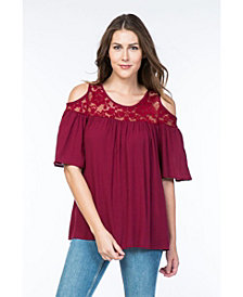 Olivia Pratt Cold shoulder Lace Top