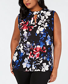 Nine West Plus Size Printed Keyhole Sleeveless Blouse