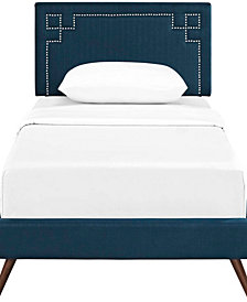 Ruthie Twin Fabric Platform Bed with Round Splayed Legs