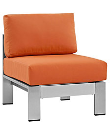 Modway Shore Armless Outdoor Patio Aluminum Chair Orange