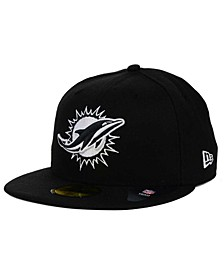 Miami Dolphins Black And White 59FIFTY Fitted Cap